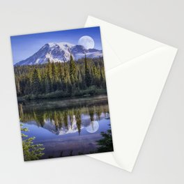 Moon Rise Over Mt. Rainier Stationery Cards