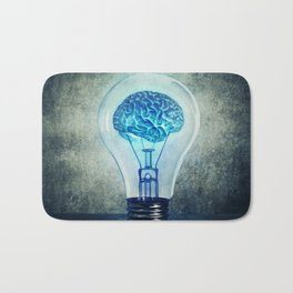 lightbulb brain shining Bath Mat