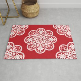 Floral Doily Pattern | Lace Crochet Doilies | Needle Crafts | Red and White | Rug