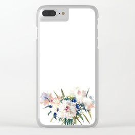 White Peonies, Asian Watercolor design Garden Peonies White lofral art Clear iPhone Case