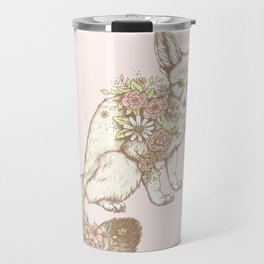 Floral Fennec Fox Travel Mug