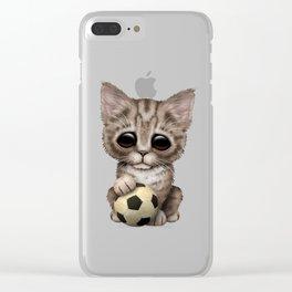 Cute Kitten With Football Soccer Ball Clear iPhone Case
