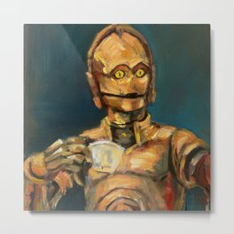 Robot coffee break Metal Print
