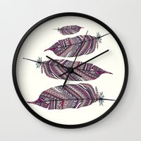 feathers Wall Clocks featuring FEATHERS by Monika Strigel®