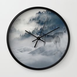 Wolves loup 2 Wall Clock