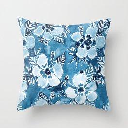 DANK DUDETTE Indigo Hibiscus Watercolor Throw Pillow