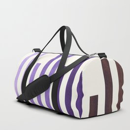 Purple Minimalist Abstract Mid Century Modern Staggered Thin Stripes Watercolor Painting Duffle Bag