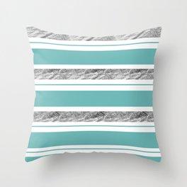Aqua Blue Stripe with Silver Throw Pillow