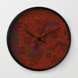 Caravans II:  Asian Print  Plum, gold, orange green origami textile floral design Wall Clock