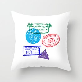 Series Of Home Travel Passport Stamps - Staying Home Throw Pillow