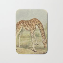 Vintage Giraffe Illustration (1903) Bath Mat