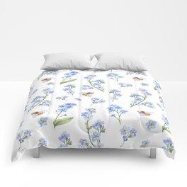 Cute hand painted brown bee lavender watercolor floral Comforters