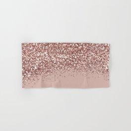 Glam Rose Gold Pink Glitter Gradient Sparkles Hand & Bath Towel