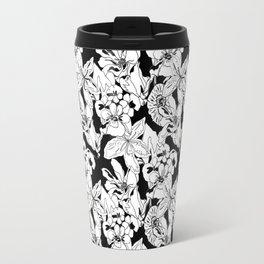 Nouveau Floral Black and White Travel Mug
