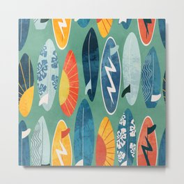 Surfboard green  Metal Print