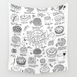 Pies and Tarts Illustrated Alphabet Wall Tapestry