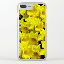 YELLOW SPRING KING ALFRED DAFFODILS ON BLACK Clear iPhone Case