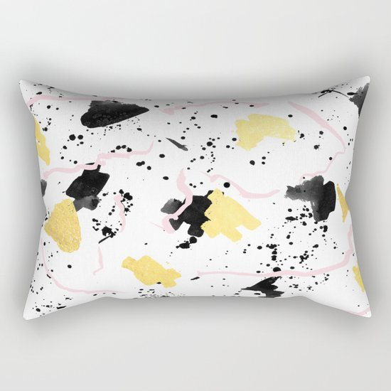 Raye - gold bright black and white minimal modern abstract painting ink texture foil hipster urban Rectangular Pillow