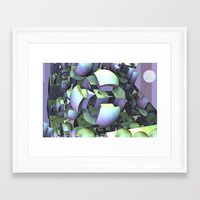 sci fi Framed Art Prints featuring Sci-fi town by thea walstra