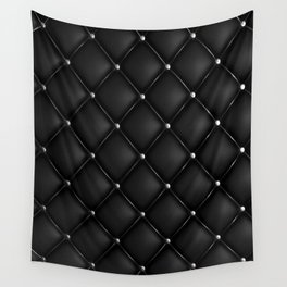 Black Quilted Leather Wall Tapestry