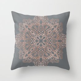 Mandala Rose Gold Pink Shimmer on Soft Gray by Nature Magick Throw Pillow