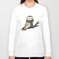 tote Long Sleeve T-shirts featuring Winter Owl by Freeminds