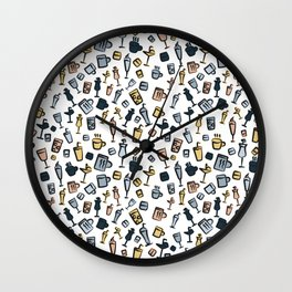 Beer Wine Cup Glass Sets Pattern Wall Clock