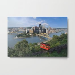 Duquesne Incline Overlooking Pittsburgh, PA Metal Print