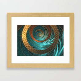 Beautiful Corded Leather Turquoise Fractal Bangles Framed Art Print