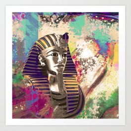 King Tut  Mask Abstract composition Art Print