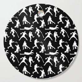 Baseball Players // Black Cutting Board