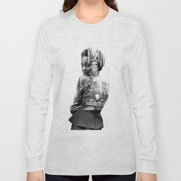 Double Exposure of woman and New York Long Sleeve T-shirt