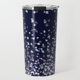 Floating Confetti - Navy Blue and Silver Travel Mug