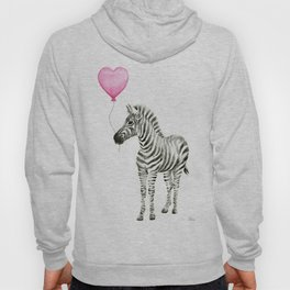 Zebra with Pink Balloon Hoody