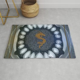 Golden chinese dragon Rug