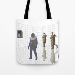 Man in a room with statues and cats_ Tote Bag