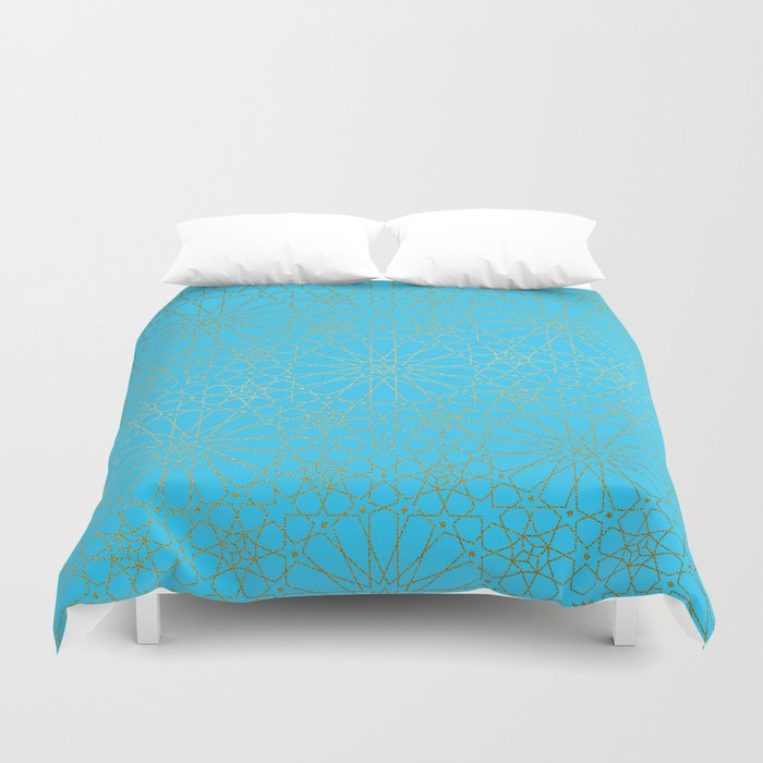 Moroccan Nights - Gold Teal Mandala Pattern - Mix & Match with Simplicity of Life Duvet Cover