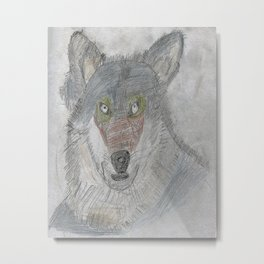 Sculpting a Wolf on Paper Metal Print