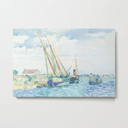 Marine Scene (Boats near Venice) by Henri-Edmond Cross1903, French Metal Print
