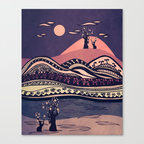 Psychedelic mountains (colour option) Canvas Print