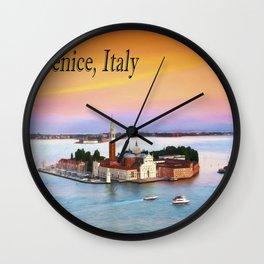 Venice, Italy Orange Sunset Wall Clock