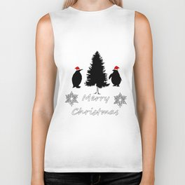 """Penguin """"Merry Christmas"""" Biker Tank"""