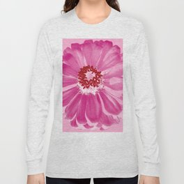 Abstract Photo Large Pink Flower Long Sleeve T-shirt