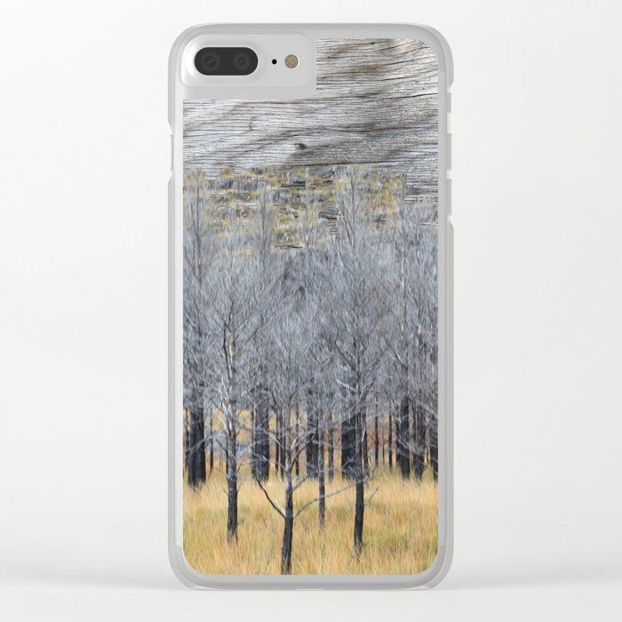 Wood on wood Clear iPhone Case