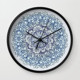 Indigo Medallion with Butterflies & Daisy Chains Wall Clock
