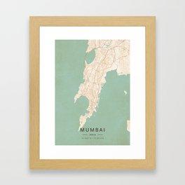 Mumbai, India - Vintage Map Gerahmter Kunstdruck