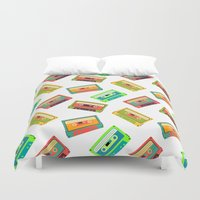 cassette Duvet Covers featuring Cassette Pattern by Stephanie Keir