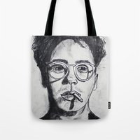 robert downey jr Tote Bags featuring Robert Downey Jr. by Haley Erin