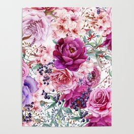 Roses and Peonies Collage Poster