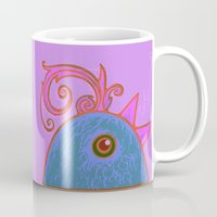 cock Mugs featuring Blue cock by RifKhas